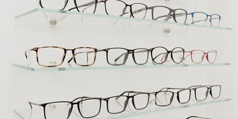 Glasses on shelves