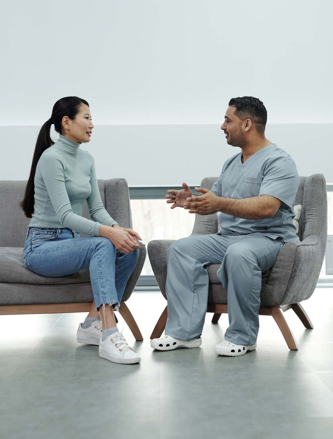 Two people in Medicare consultation